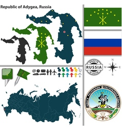 Map of Republic of Adygea vector image