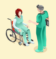 Medical doctor talking with patient isometric vector