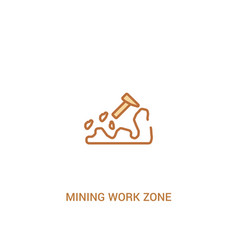 Mining work zone concept 2 colored icon simple vector