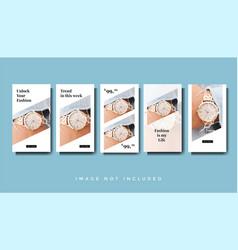 Modern watch instagram stories promotion template vector