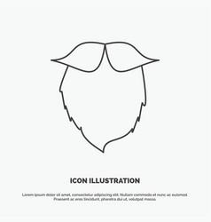 Moustache hipster movember beared men icon line vector