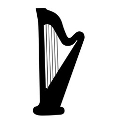 musical instrument silhouette harp vector image