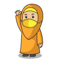 Muslim girl use orange shirt and hijab greeting vector