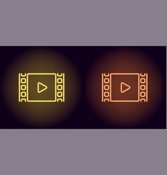 neon cinema film in yellow and orange color vector image