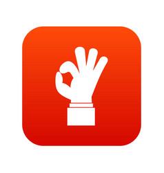 ok gesture icon digital red vector image