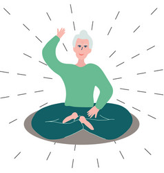 Old woman practicing yoga vector