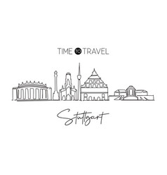 one continuous line drawing stuttgart city vector image