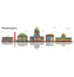 Outline washington dc usa city skyline with color vector