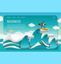 Paper cut business landing page website vector