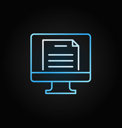 Pc with document colorful icon or sign in vector