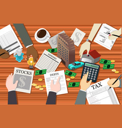 People working on financial planning vector