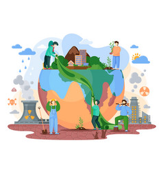 Planet earth is suffers from human activity vector