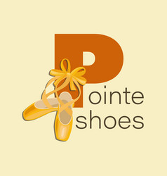Pointe shoes with ribbon and bow vector