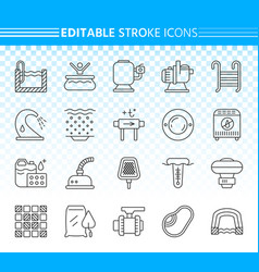 Pool equipment simple black line icons set vector