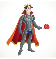 Prince charming in armour give flower vector