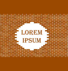 red brick wall seamless with wihite place for text vector image
