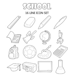 School icons set outline style vector image