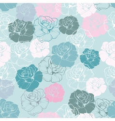 Seamless floral blue pattern rose background vector
