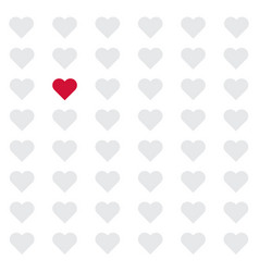 seamless hearts pattern with one heart highlighted vector image