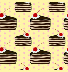seamless vintage pattern with piece of cake vector image