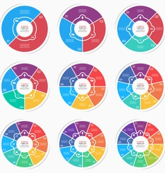 Set flat style pie chart circle infographic vector