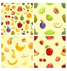 set fruits seamless patterns vector image