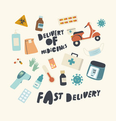 Set icons medicines delivery service theme vector