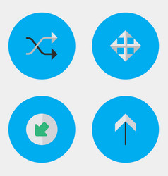Set of simple arrows icons elements up widen vector