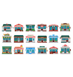 shops facades laundry building hardware store vector image