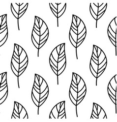 Simple doodle leaves pattern in hand drawn style vector