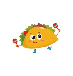 Smiling big eyed burrito dancing and playing vector