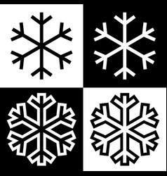 snowflake symbols icons simple black white set 8 vector image
