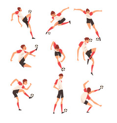 Soccer player in different poses set professional vector