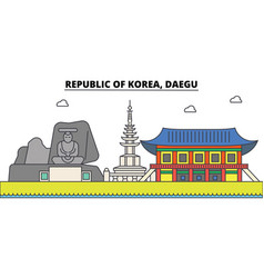 South korea daegu outline city skyline linear vector
