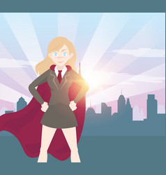 Superhero business woman cartoon with graph vector