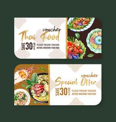 Thai food voucher design with dry rice salad vector
