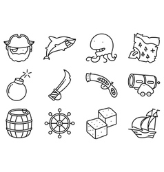 Thin and simple pirate and criminal icons set vector