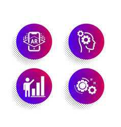 Thoughts augmented reality and graph chart icons vector