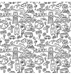 travel doodles pattern vector image