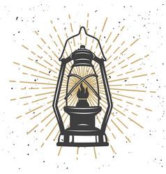 Vintage kerosene lamp design element for poster vector