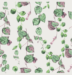 Watercolor tropical green leaves seamless pattern vector