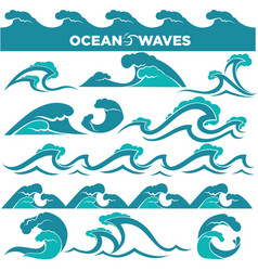 Waves icons of water tidal gale blue ocean wave vector