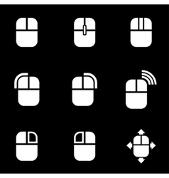White computer mouse icon set vector