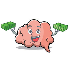 with money brain character cartoon mascot vector image vector image