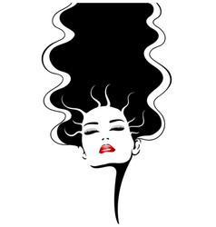 woman face with red lips fashion vector image