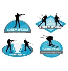 biathlon logo set vector image