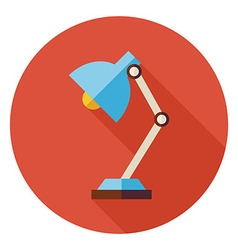 Flat Office Workplace Desk Lamp Circle Icon with vector image vector image