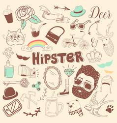 freehand hipster elements set hand drawn vector image vector image