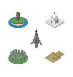 isometric attraction set of india mosque england vector image vector image