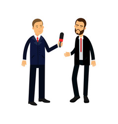 male journalist character with a microphone making vector image